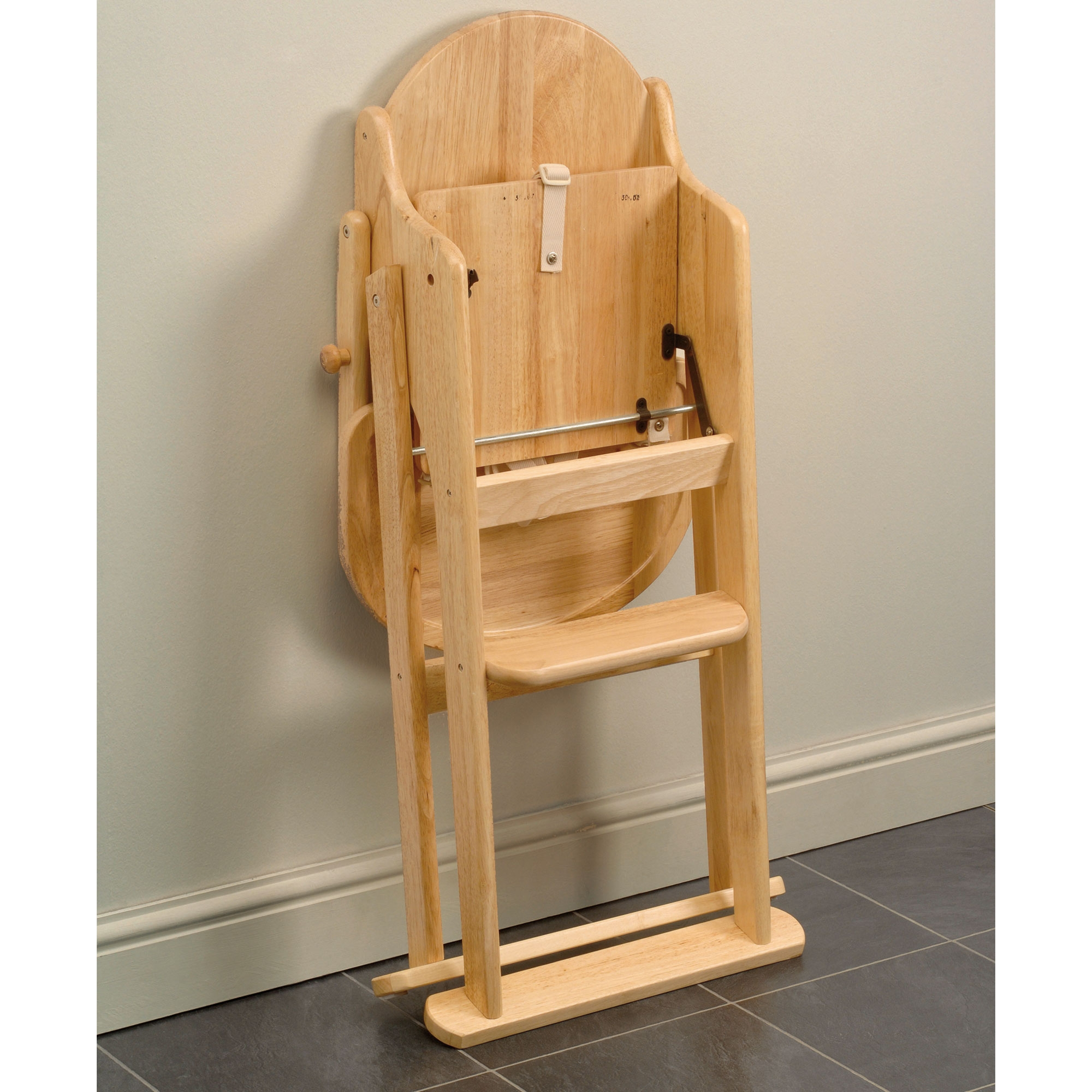 East Coast Folding Highchair Natural Rubberwood Feeding Safety Harness