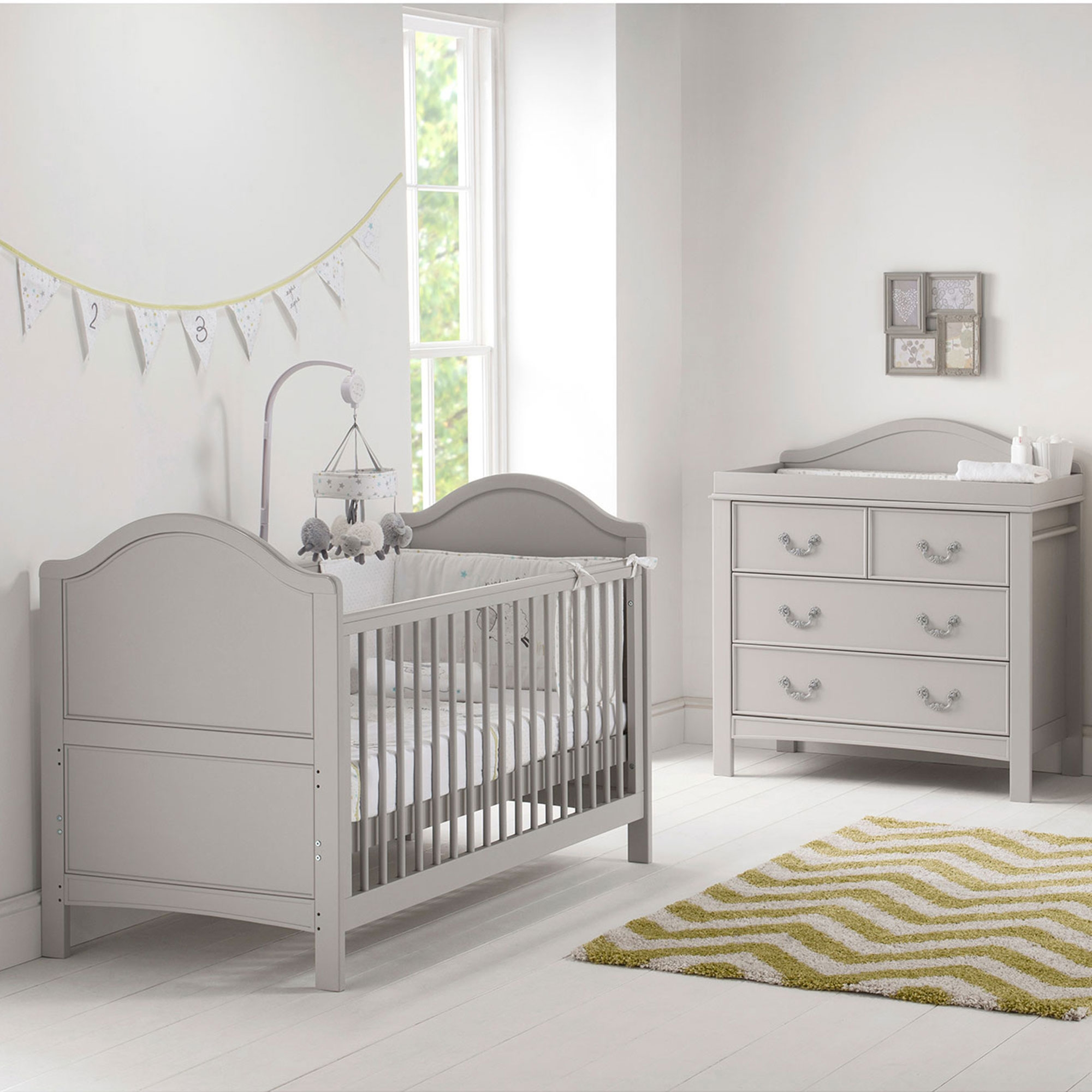 Details About East Coast Nursery Furniture Cot Bed Dresser Toulouse 2 Piece Room Set In Grey