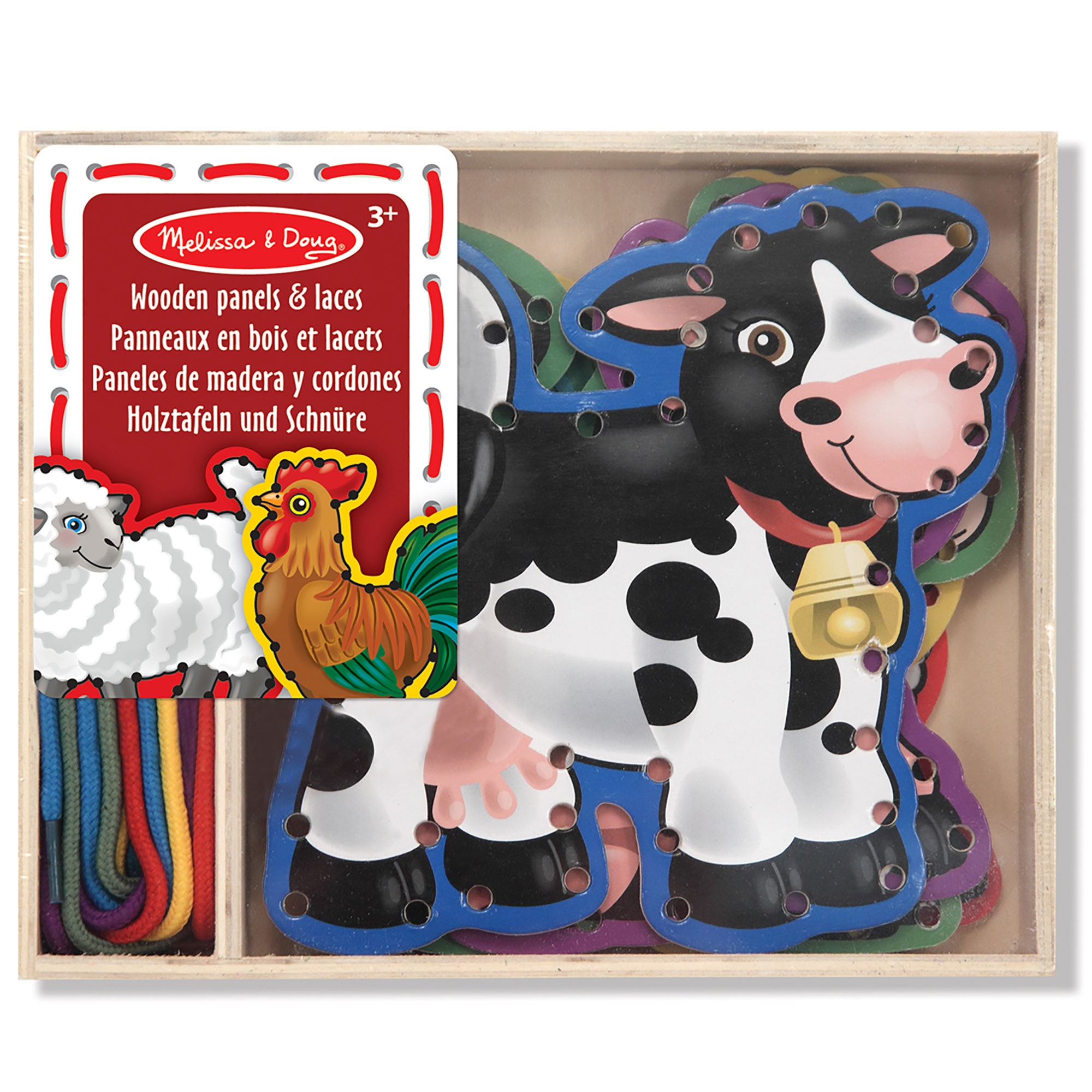 Melissa and Doug Panels and Laces Kids Children/'s Lacing Game Farm Animals