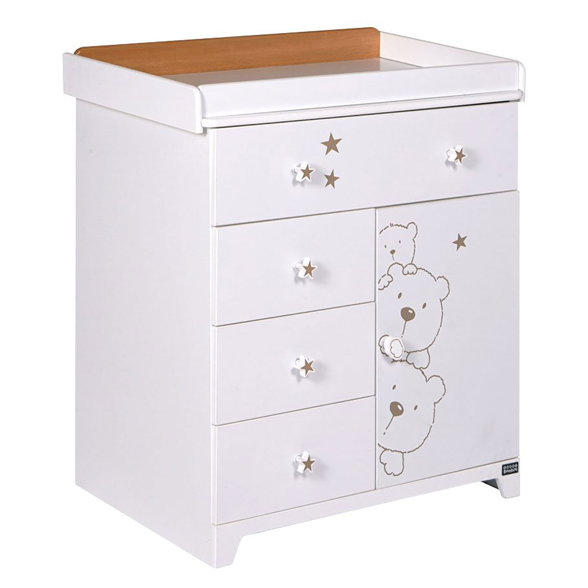 Details About Tutti Bambini 3 Bears Chest Drawers Baby Changer Nursery Furniture Beech White